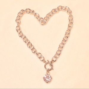 Jewelry - NECKLACE 💎 SILVER CHAIN LINK 💎 LARGE RHINESTONE